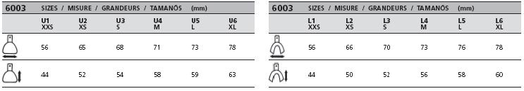 Velikostní tabulka lžic